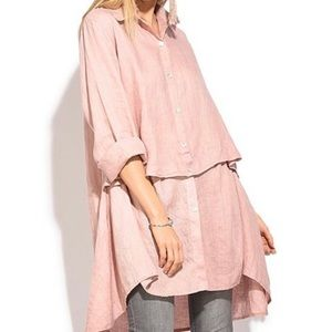 100% LIN BLANC Long-Sleeve Linen Button-Up Tunic